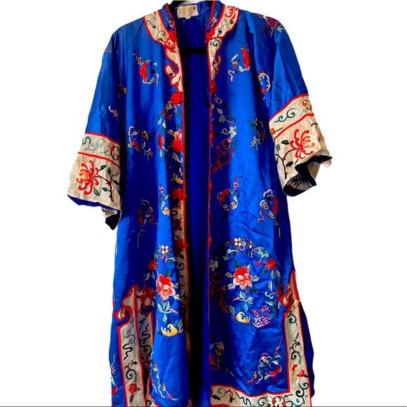 Vintage silk kimono jacket blue embroidery coat